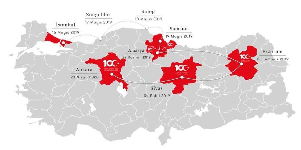 100. yıl kutlamalarına ilişkin etkinlikler yıl boyunca İstanbul, Samsun, Amasya, Erzurum, Sivas ve Ankara güzergahı başta olmak üzere tüm Türkiye'de gerçekleştirilecek