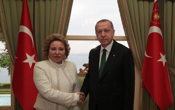 Erdoğan Rusya Federasyon Konseyi Başkanı Matviyenko'yu kabul etti