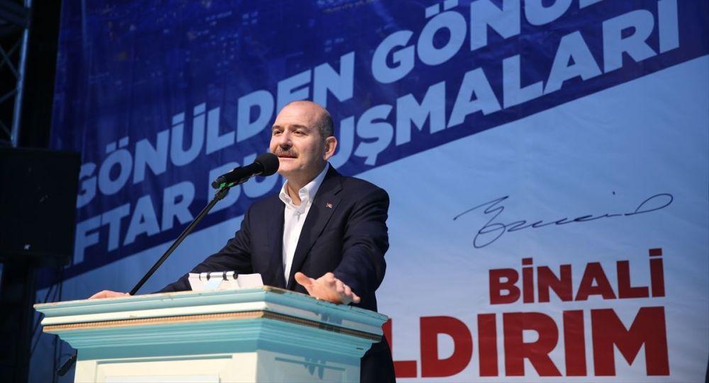 İçişleri Bakanı Süleyman Soylu, Bayrampaşa'da AK Parti İlçe Teşkilatı'nın iftar programına katılarak konuşma yaptı.