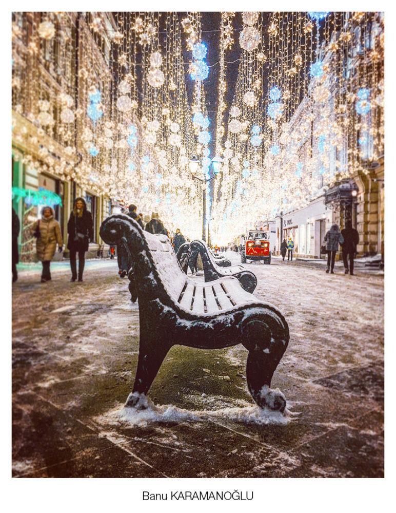Banu Karamanoğlu'nun başkent Moskova'nın merkezinde çektiği kare.