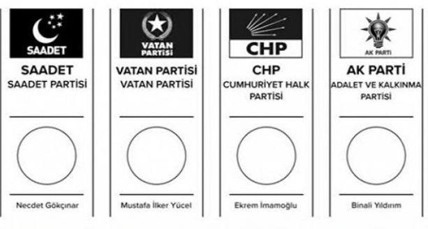 İstanbul seçimlerinde kullanılacak oy pusulası