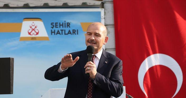 İçişleri Bakanı Süleyman Soylu, Haliç Tersanesi'nde tersane ve şehir hatları çalışanları ile bir araya geldi. Soylu, burada konuşma yaptı.