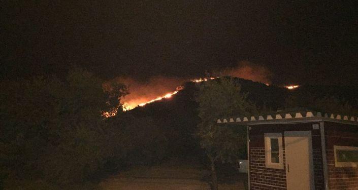 Muğla'nın Datça ilçesinde makilik alanda dün öğleden sonra çıkan yangını söndürme çalışmaları devam ediyor.