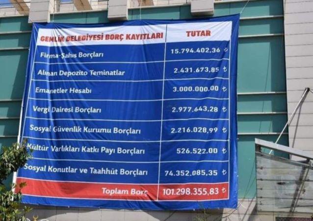 Çarşı meydanına asılan borç döküm belgesini