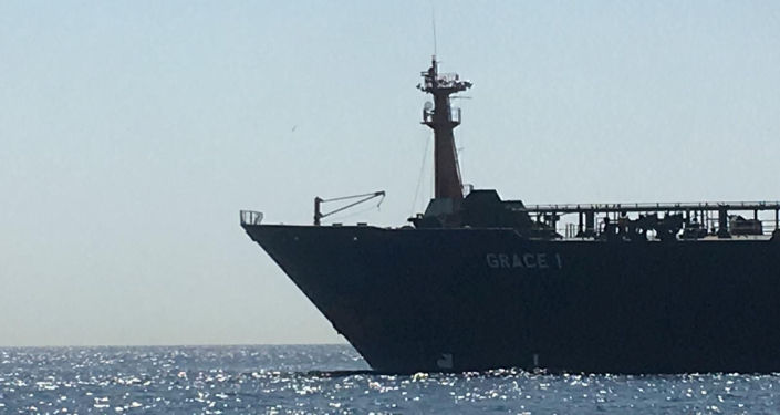 REFILE - CORRECTING BYLINE Oil supertanker Grace 1 on suspicion of being carrying Iranian crude oil to Syria is seen near Gibraltar, Spain July 4, 2019. REUTERS/Stringer