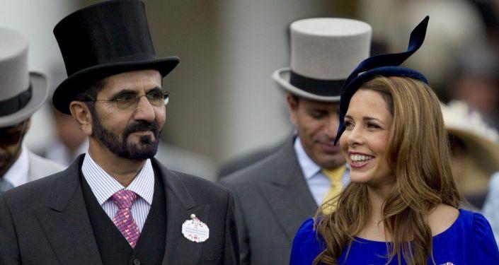 Birleşik Arap Emirlikleri (BAE) Devlet Başkan Yardımcısı, Başbakanı ve Dubai Emiri Şeyh Muhammed bin Raşid el Maktum ile 6. eşiPrenses Haya bint el Hüseyin, Ascot at yarışlarında