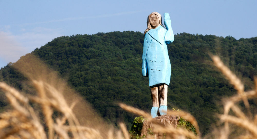 Life-size wooden sculpture of U.S. first lady Melania Trump is officially unveiled in Rozno, near her hometown of Sevnica, Slovenia, July 5, 2019. REUTERS/Borut Zivulovic     TPX IMAGES OF THE DAY