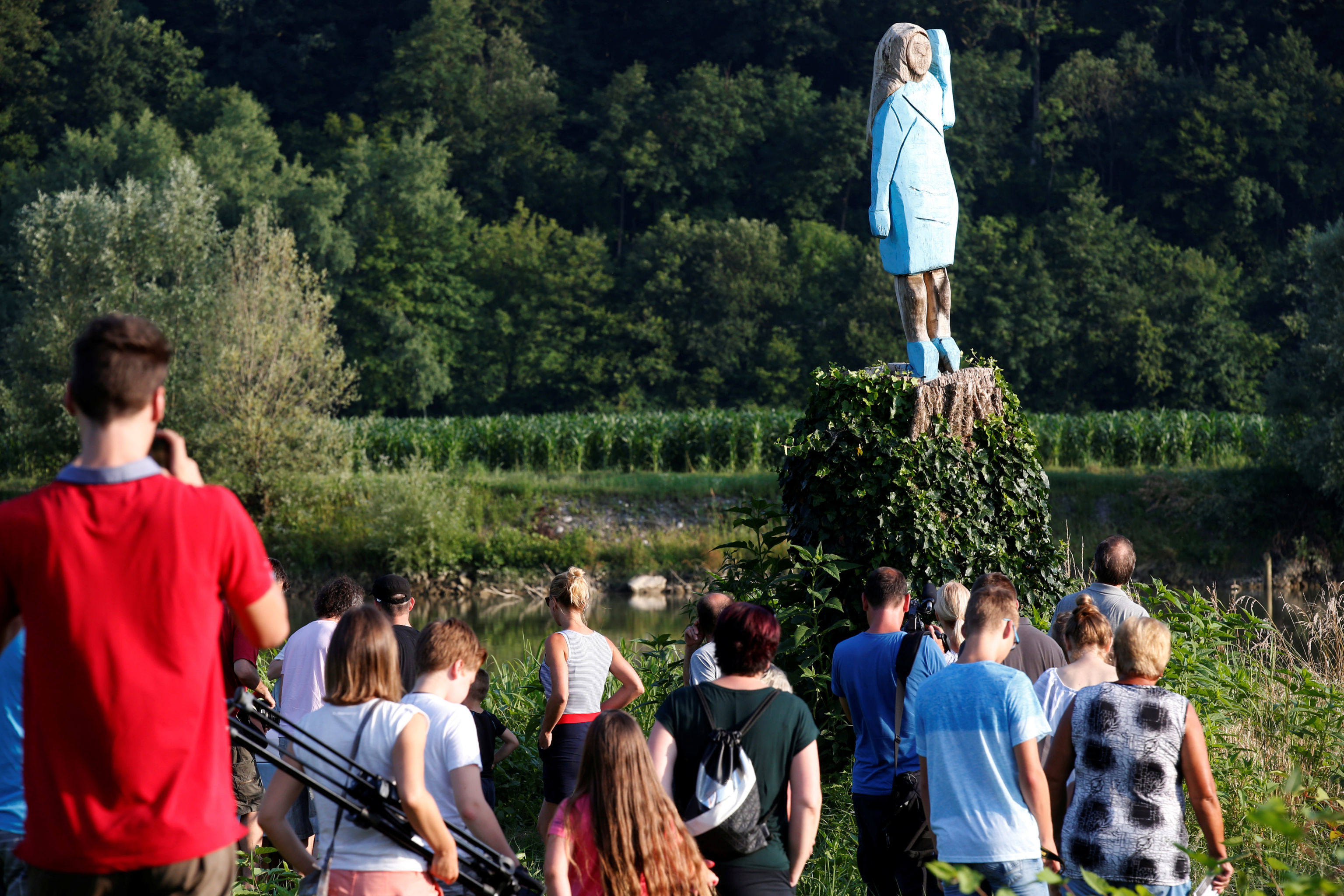 Life-size wooden sculpture of U.S. first lady Melania Trump is officially unveiled in Rozno, near her hometown of Sevnica, Slovenia, July 5, 2019. REUTERS/Borut Zivulovic