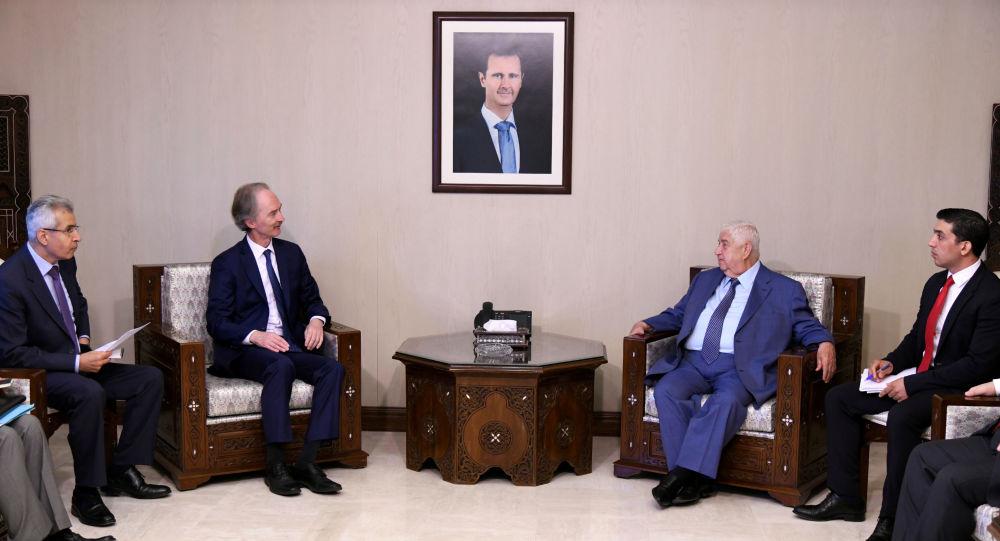 Birleşmiş Milletler (BM) Suriye Özel Temsilcisi Geir O. Pedersen ve Suriye Dışişleri Bakanı Velid Muallim