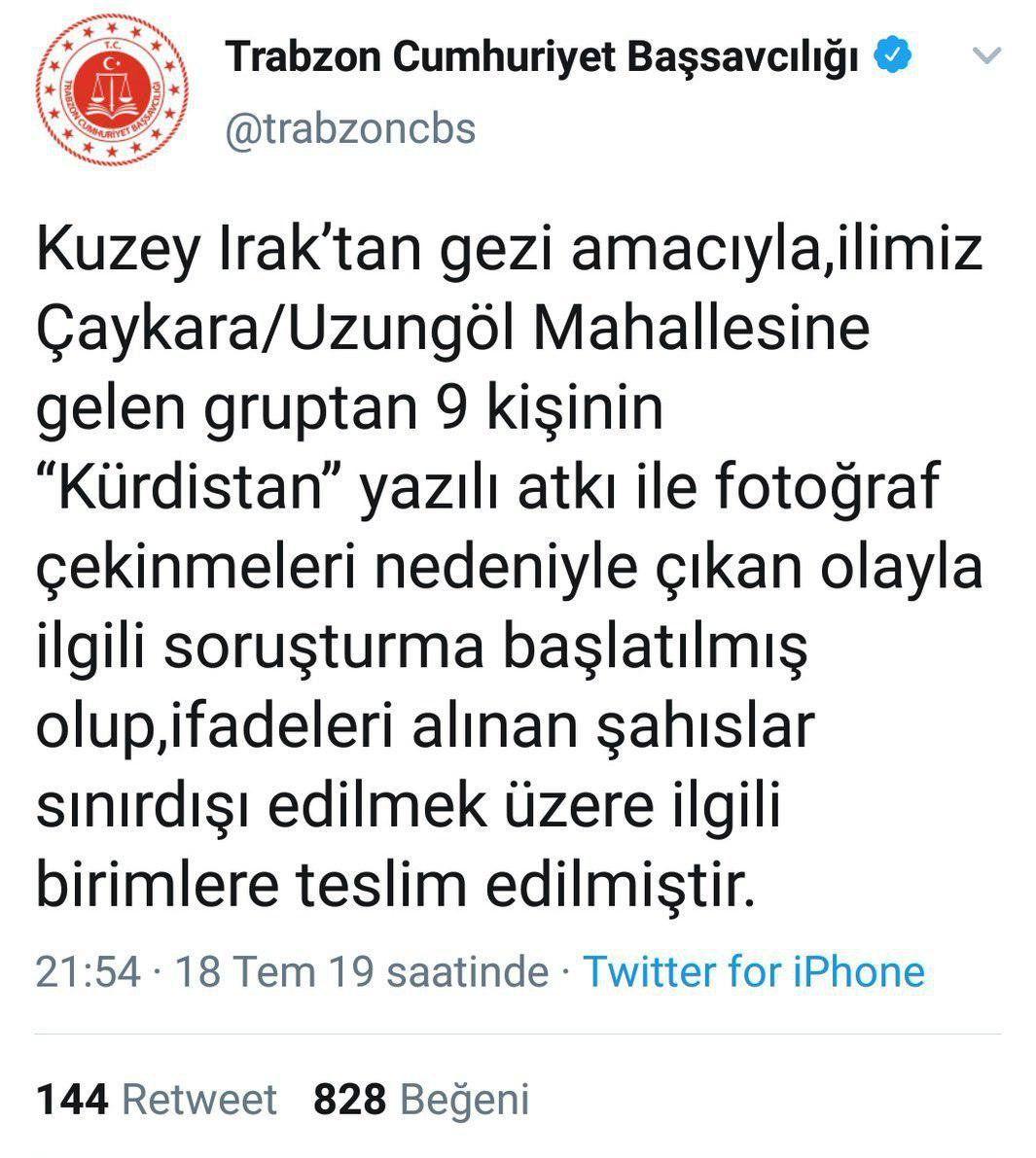 Trabzon Cumhuriyet Başsavcılığı'nın tweeti