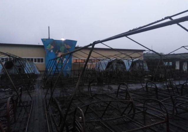 Rusya'da çocuk çadır kampında yangın çıktı