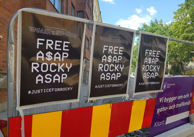 Posters asking for ASAP Rocky to be freed line the wall across from the jail where the American rapper is being held over charges of assault in Stockholm, Sweden, July 25,2019. Philip O'Connor/REUTERS