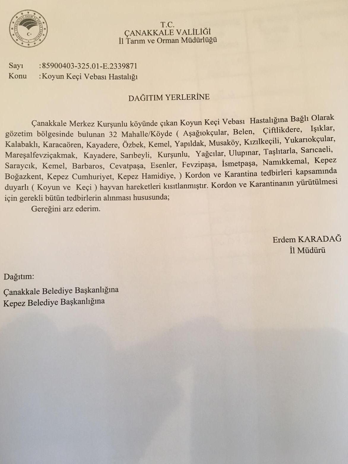 Tarım ve Orman İl Müdürlüğü'nden belediye başkanlıklarına gönderilen dilekçe
