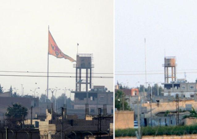 Suriye sınırında hareketlilik: YPG bayrakları indirildi