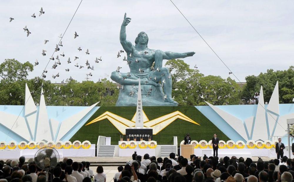 Nagasaki belediye Başkanı Tomihisa Taue, yaptığı konuşmada nükleer silahlarla ilgili küresel durumu 'son derece tehlikeli' olarak nitelendirdi.