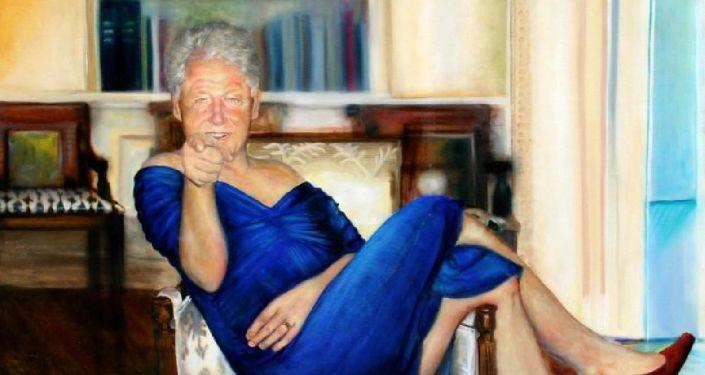 Epstein'in evinde bulunan kadın elbiseli Bill Clinton tablosu