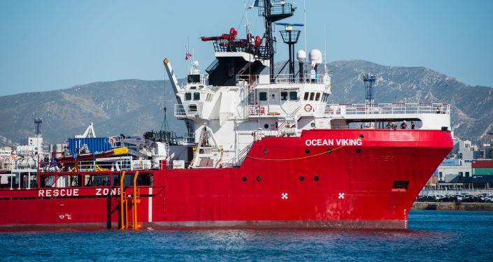 Fransız sivil toplum kuruluşları MSF ve SOS Mediterranee tarafından idare edilen Ocean Viking gemisi
