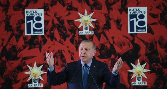 Türkiye Cumhurbaşkanı ve AK Parti Genel Başkanı Recep Tayyip Erdoğan, partisinin 18. kuruluş yıl dönümü dolayısıyla ATO Congresium'da düzenlenen resepsiyonuna katılarak konuşma yaptı.