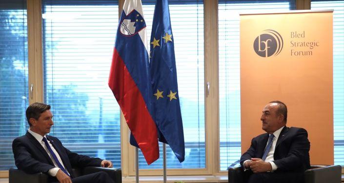 Dışişleri Bakanı Mevlüt Çavuşoğlu, 14. Bled Stratejik Forumu'na katılmak üzere geldiği Slovenya'da, Slovenya Cumhurbaşkanı Borut Pahor (solda) ile görüştü.