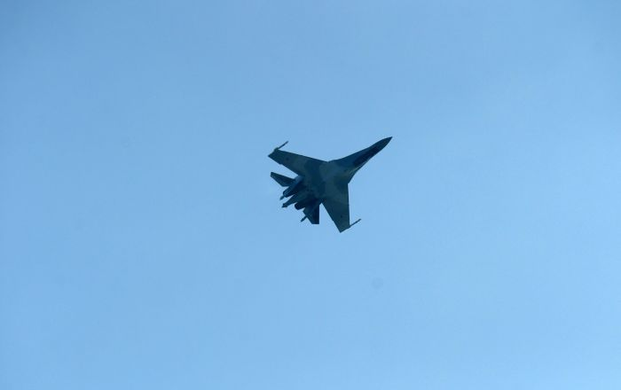 TEKNOFEST kapsamında Türkiye'ye getirilen Su-35'den gösteri uçuşu