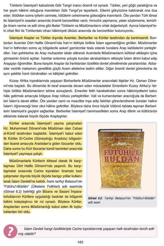 9. sınıflarda okutulan tarih kitabının ilgili bölümü