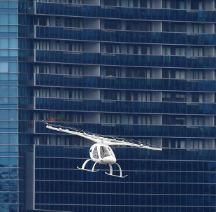 A Volocopter air taxi performs a demonstration in Singapore, October 22, 2019. REUTERS/Feline Lim