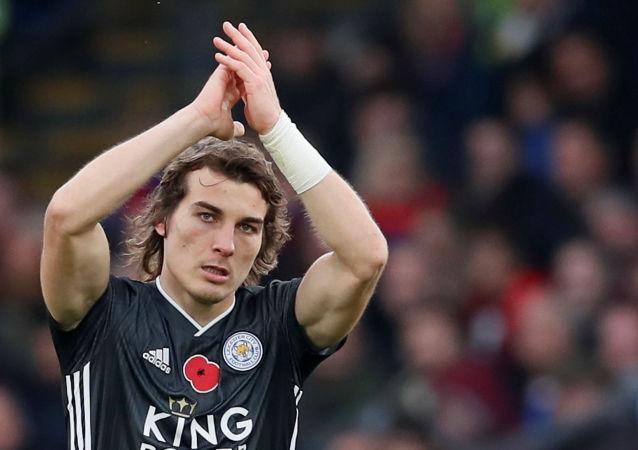 Çağlar Söyüncü  Leicester City formasıyla ilk golünü kutlarken