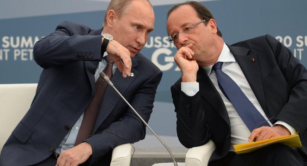 Rusya Devlet Başkanı Vladimir Putin ve Fransa Cumhurbaşkanı François Hollande