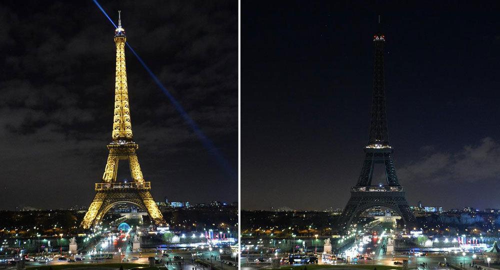 Eyfel Kulesi, Charlie Hebdo için karardı