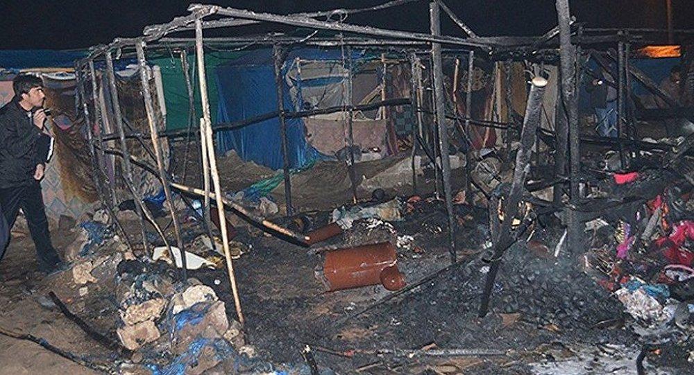 Kilis'te çadır yangını