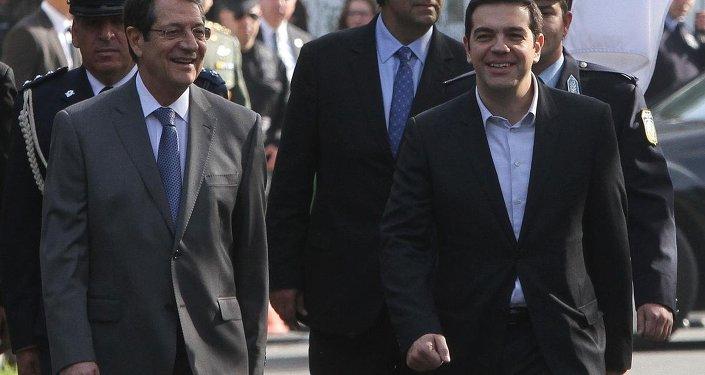 Yunanistan Başbakanı Aleksis Çipras ve Rum lider Nikos Anastasiadis