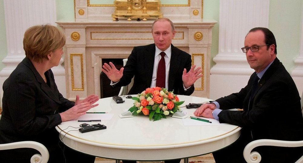 Vladimir Putin - Angela Merkel - Francois Hollande