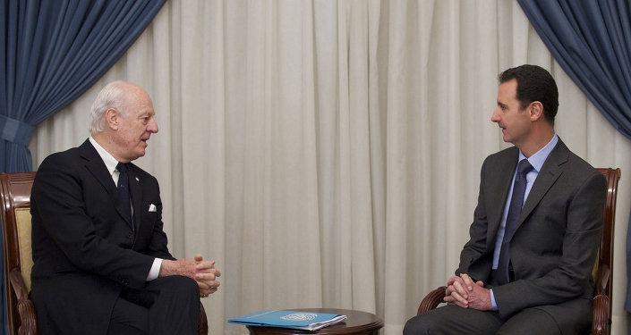 Suriye Devlet Başkanı Beşar Esad ve Birleşmiş Milletler (BM) Suriye özel temsilcisi Staffan de Mistura