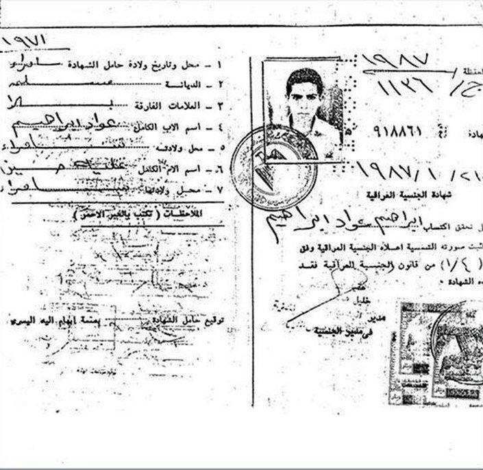 Bağdadi'nin Irak vatandaşı olduğunu gösteren nüfus cüzdanı