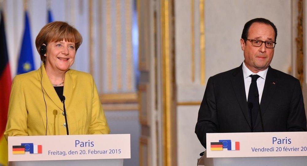 Fransa Cumhurbaşkanı François Hollande - Almanya Başbakanı Angela Merkel