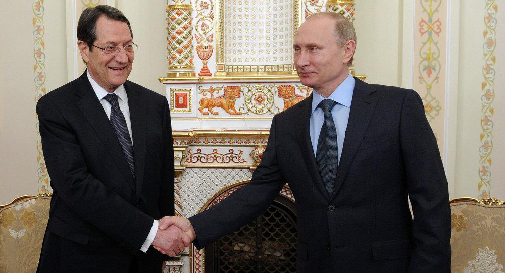 Rusya Devlet Başkanı Vladimir Putin ve Güney Kıbrıs Rum Yönetimi lideri Nikos Anastasiadis