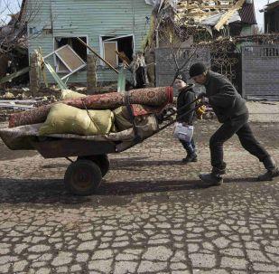 Debaltsevo'da yıkılmış evler