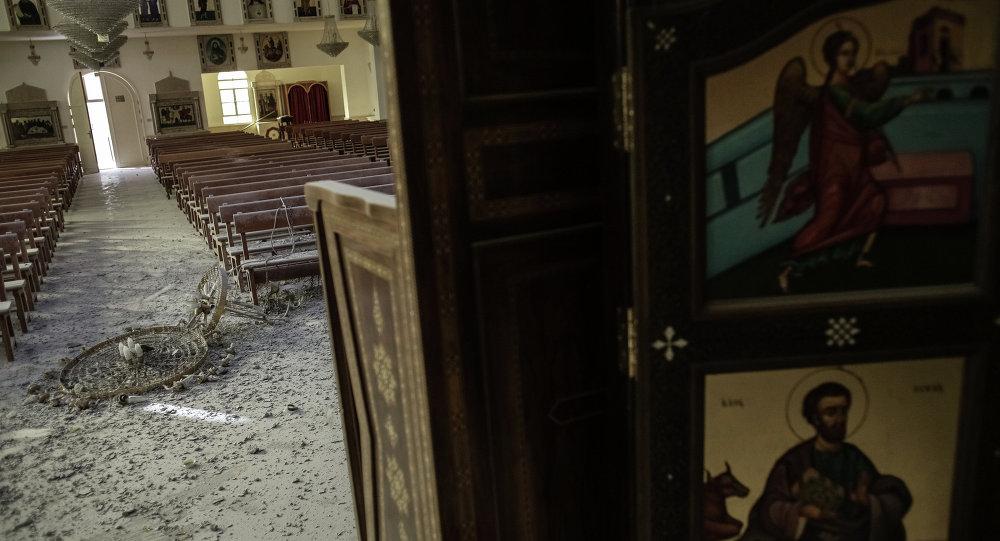 Maalula'da yıkılmış bir kilise
