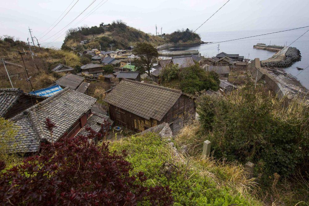 Japonya'nın  Aoshima adasındaki balıkçı kasabası