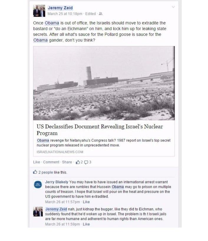 Jeremy Zeid'ın Facebook iletisi