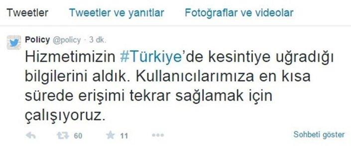 Twitter yetkilileri, Türkiye'de yaşanan erişim sorunuyla ilgili Türkçe ve İngilizce tweet atarak kullanıcıları bilgilendirdi.