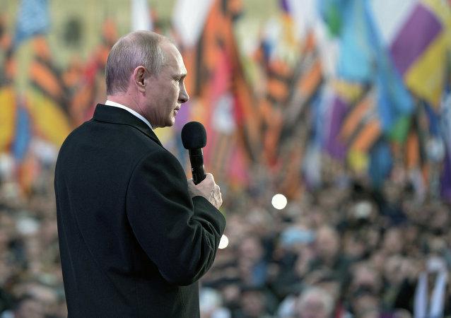 Vladimir Putin, Kırım'ın Rusya'ya katılışının yıldönümü kutlamalarında