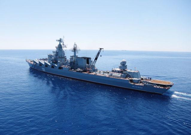 Akdeniz'de  Rusya-Çin ortak tatbikatına katılan Moskova isimli muhafız füze kruvazörü