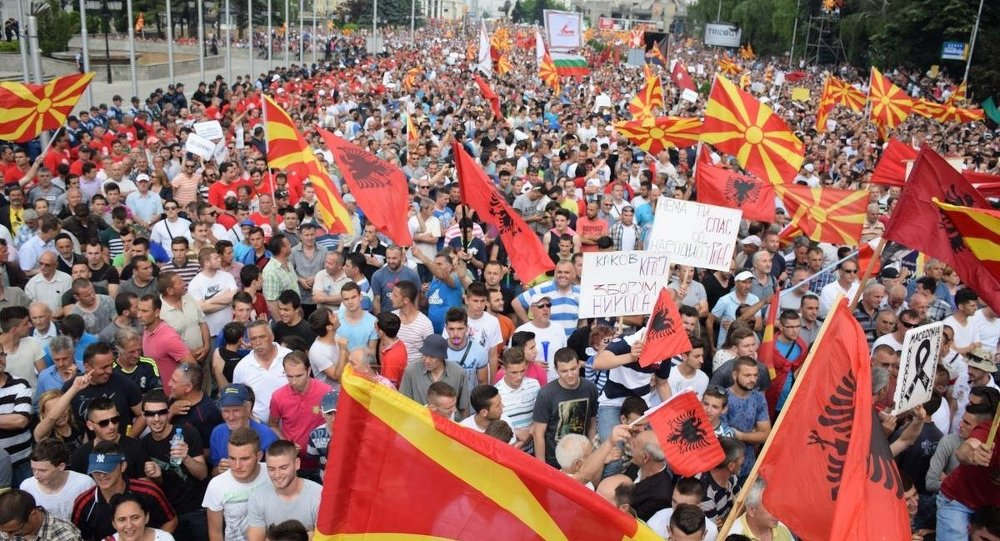 Makedonya'da hükümet karşıtı protesto