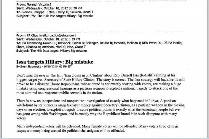Hillary Clinton'ın özel elektronik e-posta hesabında yer alan Bingazi ile ilgili yazışmalar kamuoyuna açıklandı.