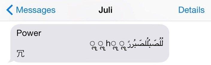 Bu mesajı açan kullanıcıların Messages uygulaması kendini kapatıyor ve başka bir mesaj gelene kadar kullanılamıyor.