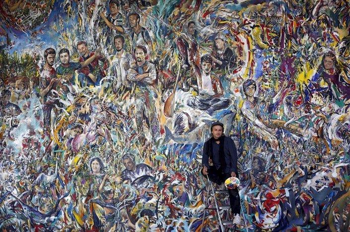 Ressam Haydar Özay tarafından bir buçuk yıllık çalışmanın ardından tamamlanan 50 metrekare büyüklüğündeki Gezi Resmi isimli tablo, sergilenmeye başlandı.