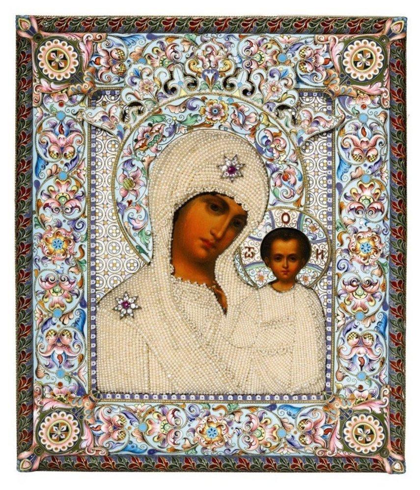 Mücevher ve inci süslemeli, gümüş işlemeli, kluazone Kazanlı Meryem Ana ikonası. Dmirti Lukitich Smirnov'un eseri/Moskova/1899-1908.