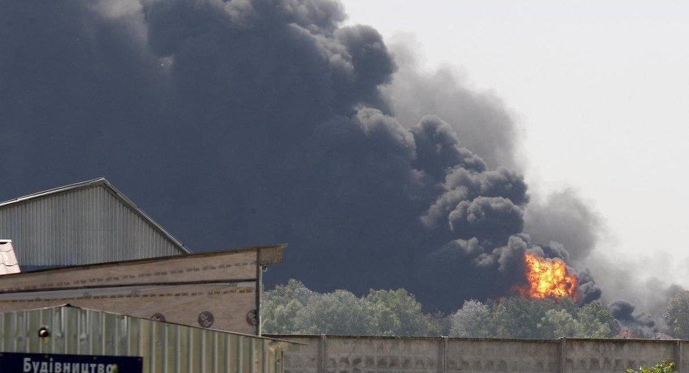 Ukrayna'da petrol deposunda yangın