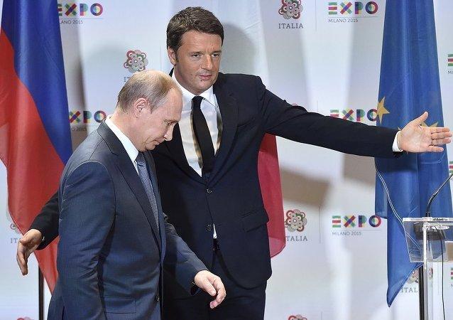 İtalya Başbakanı Matteo Renzi ve Rusya Devlet Başkanı Vladimir Putin